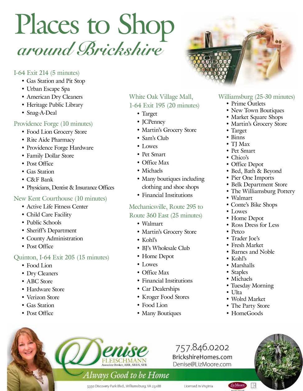 Places to Shop near Brickshire in New Kent, Virginia, courtesy of Denise Fleischmann, Realtor